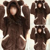 Cute Style Long Sleeve Hooded Plush Nightwear Set