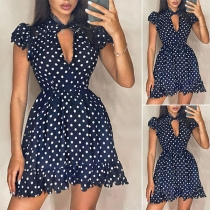 Fashion Short Sleeve Ruffle Hem Dots Printed Dress