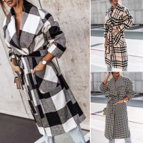 Fashion Long Sleeve Lapel Plaid Woolen Coat
