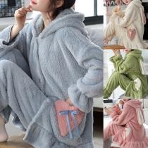 Sweet Style Long Sleeve Hooded Ruffle Hem Plush Nightwear Set