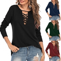 Fashion Solid Color Long Sleeve Hollow Out V-neck T-shirt
