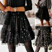 Fashion High Waist Gauze Spliced Hem Star Printed Skirt