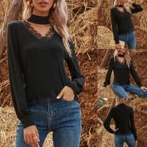 Fashion Solid Color Lace Spliced V-neck Long Sleeve Halter T-shirt