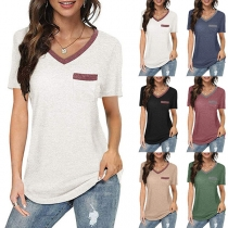 Casual Style Short Sleeve V-neck Contrast Color T-shirt