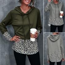 Fashion Leoaprd Spliced Long Sleeve Hooded Sweatshirt