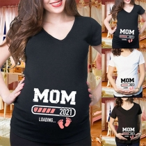 Simple Style Short Sleeve Letters Printed Couple T-shirt