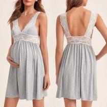 Sexy Backless V-neck Lace Spliced Sling Maternity Dress