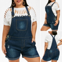 Fashion Middle Waist Ripped Denim Shorts Overalls