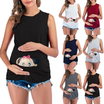 Cute Baby Printed Sleeveless Round Neck Maternity T-shirt
