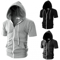 Fashion Solid Color Short Sleeve Hooded Man's Sports Top