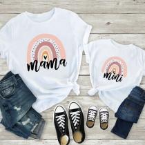 Camiseta para Mamá e Hija con Estampado de Escote Redondo Manga Corta