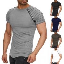 Fashion Solid Color Wrinkled Raglan Sleeve Round Neck Man's T-shirt