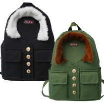 Fashion Contrast Color Big Capacity Canvas Backpack