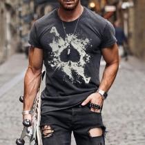 Blusa para Hombre con Estampado de Escote Redondo Manga Corta