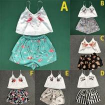 Pijama Corta con Estampado de Tirantes + Shorts