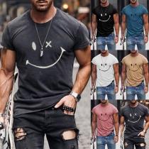 Camiseta de Hombre con Estampado de Cara Sonriente de Escote Redondo Manga Corta