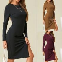 Simple Style Short Sleeve Round Neck Slit Hem Solid Color Slim Fit Dress