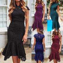 Elegant Solid Color Short Sleeve Stand Collar Slim Fit Fishtail Dress