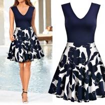 Fashion Sleeveless V-neck High Waist Printed Spliced Hem Dress