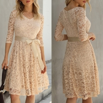 Elegant Solid Color 3/4 Sleeve Round Neck High Waist Lace Dress