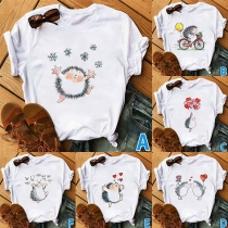 Cute Cartoon Hedgehog Printed Short Sleeve Round Neck T-shirt