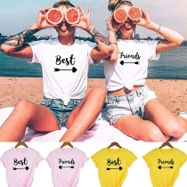 Simple Style Short Sleeve Round Neck Letters Printed Besties T-shirt