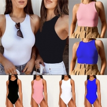 Simple Style Sleeveless Round Neck Solid Color Slim Fit Bodysuit