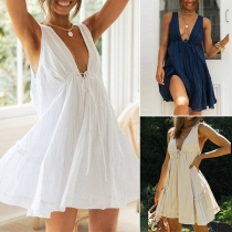 Sexy Backless Deep V-neck Sleeveless Solid Color Drawstring Dress