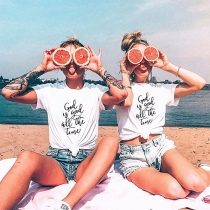 Casual Style Short Sleeve Round Neck Letters Printed Besties T-shirt