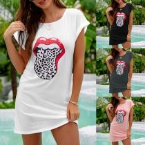 Chic Style Lip Printed Pattern Short Sleeve Round Neck T-shirt Dress