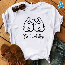 Casual Style Short Sleeve Round Neck Letters Gesture Printed T-shirt