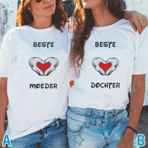 Casual Style Letters Heart Printed Short Sleeve Round Neck Besties T-shirt