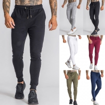 Casual Style Solid Color Drawstring Waist Man's Sports Pants