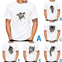 Blusa para Caballero de Estampado de Gato de Escote Redondo Manga Corta