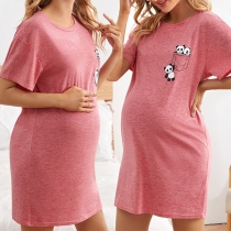 Cute Panda Printed Short Sleeve Round Neck Maternity Dress