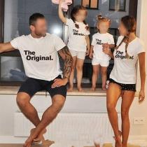 Camiseta para las Familias de Estilo Casual de Manga Corta con Estampado de Letras