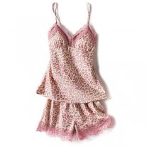 Sexy Pijama Corta con Estampado de Leopardo