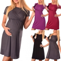 Simple Style Short Sleeve Round Neck Solid Color Multifunctional Maternity Dress