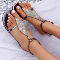 Sandalias de Tanga de Strass de Tacón Plano de Moda