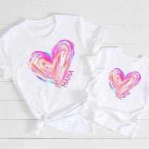 Blusa para Mamá e Hija con Estampado de Corazón de Manga Corta