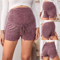 Fashion High Waist Solid Color Shorts for Pregnant Woman