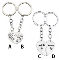 Chic Style Letters Engraved Heart Pendant Besties Key Chain