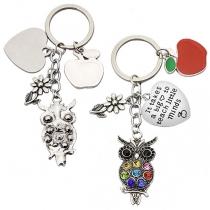 Cute Style Rhinestone Inlaid Owl Apple Pendant Key Chain