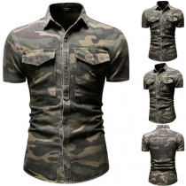 Casual Style Short Sleeve POLO Collar Camouflage Printed Man's Shirt