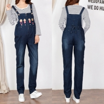 Cute Cartoon Printed High Waist Relaxed-fit Denim Overalls for Pregnant Woman