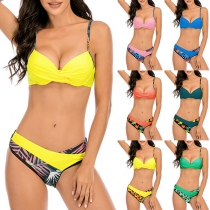 Sexy Low-waist Printed Spliced Push-up Bikini Set