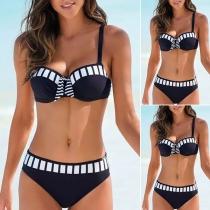 Sexy Conjunto de Bikini Push-up de Cintura Baja de Color en Contraste