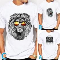 Cute Style Lion Head Pattern Short Sleeve Round Neck Man's T-shirt