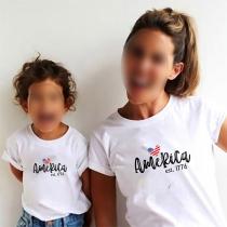 Blusa para Mamá y Niños con Estampado de Escote Redondo Manga Corta