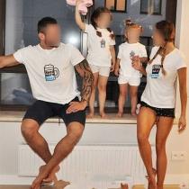 Blusa para la Familia con Estampado de Escote Redondo Manga Corta